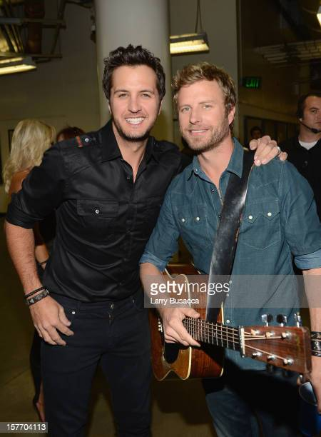 Luke Bryan and Dierks Bentley attend The GRAMMY Nominations Concert Live held at Bridgestone Arena on December 5 2012 in Nashville Tennessee