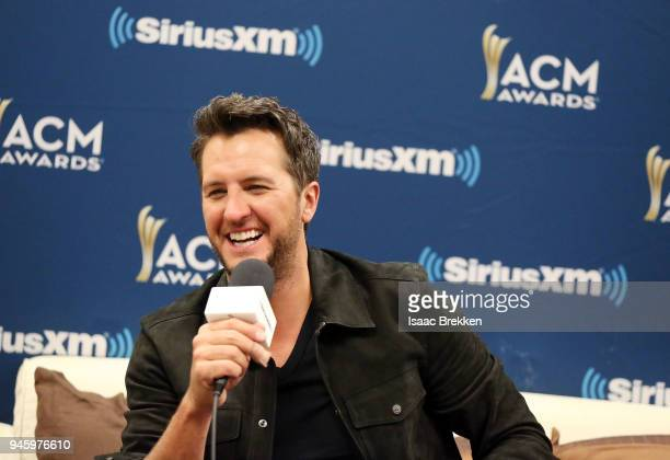 Luke Bryan attends SiriusXM's The Highway channel broadcast backstage from the Academy of Country Music Awards on April 13 2018 in Las Vegas Nevada
