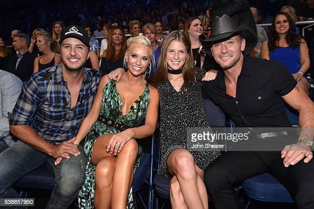 Luke Bryan Caroline Boyer and Tim McGraw attend the 2016 CMT Music awards at the Bridgestone Arena on June 8 2016 in Nashville Tennessee
