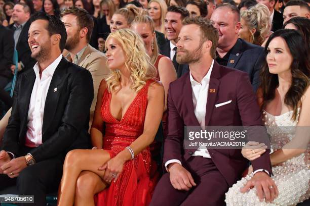 Luke Bryan Caroline Boyer Dierks Bentley Cassidy Black attend the 53rd Academy of Country Music Awards at MGM Grand Garden Arena on April 15 2018 in...