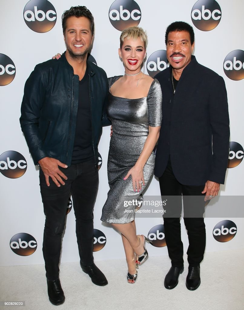 Luke Bryan, Katy Perry, and Lionel Richie attend the Disney ABC Television Group Hosts TCA Winter Press Tour 2018 on January 8, 2018 in Pasadena, California.