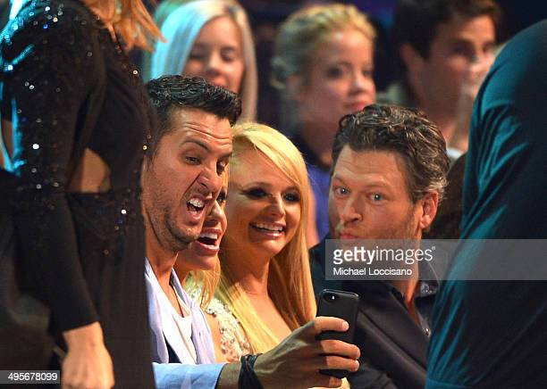 Luke Bryan Miranda Lambert and Blake Shelton attend the 2014 CMT Music Awards at Bridgestone Arena on June 4 2014 in Nashville Tennessee