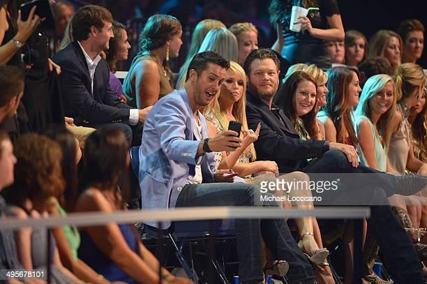 Luke Bryan Miranda Lambert and Blake Shelton attend the 2014 CMT Music Awards at Bridgestone Arena on June 4 2014 in Nashville Tennessee