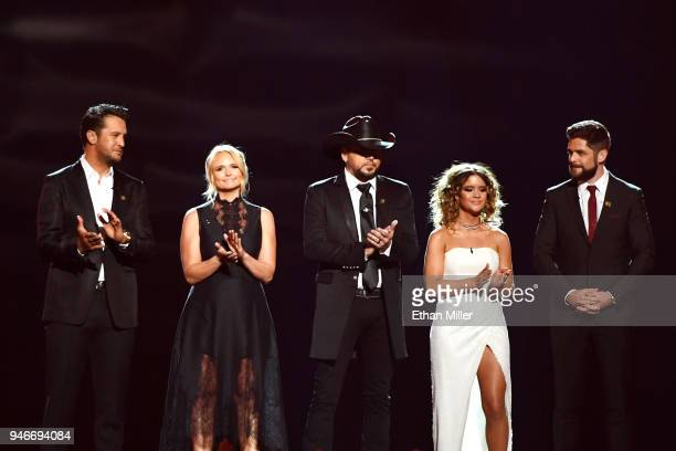 Luke Bryan Miranda Lambert Jason Aldean Maren Morris and Thomas Rhett speak onstage during the 53rd Academy of Country Music Awards at MGM Grand...