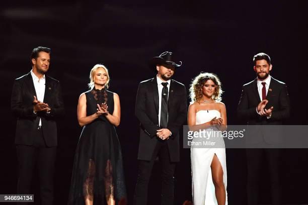 Luke Bryan Miranda Lambert Jason Aldean Maren Morris and Thomas Rhett speak onstage during the 53rd Academy of Country Music Awards at MGM Grand...