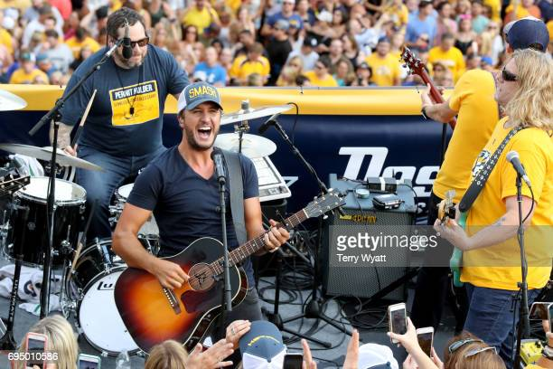 Luke Bryan performs during the opening of the TV broadcast of The 2017 Stanley Cup Final Game 6 at Tootsie's Orchid Lounge on June 11 2017 in...