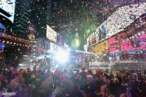 Luke Bryan performs on stage during New Year's Eve celebrations at Times Square on December 31 2015 in New York City