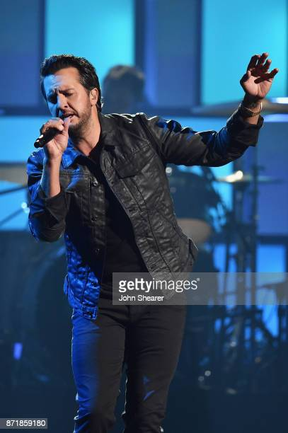 Luke Bryan performs onstage at the 51st annual CMA Awards at the Bridgestone Arena on November 8 2017 in Nashville Tennessee