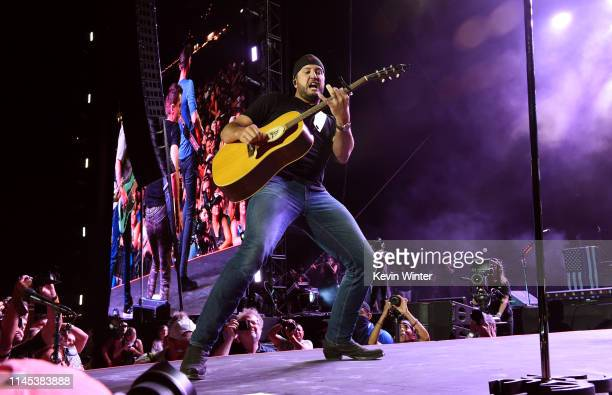 Luke Bryan performs onstage during the 2019 Stagecoach Festival at Empire Polo Field on April 26 2019 in Indio California