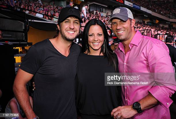 Luke Bryan Sara Evans and Jay Barker attend Bama Rising A Benefit Concert For Alabama Tornado Recovery at the Birmingham Jefferson Convention Complex...