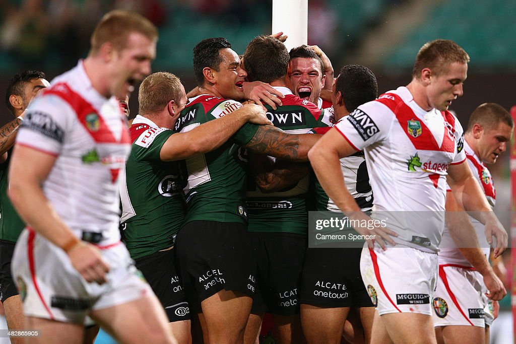 Luke Burgess of the Rabbitohs celebrates scoring a try during the round five NRL match between the St George Illawarra Dragons and the South Sydney Rabbitohs at Sydney Cricket Ground on April 5, 2014 in Sydney, Australia.