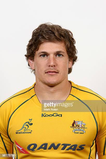 Luke Burgess poses during the Australian Wallabies squad headshots session at Crown Plaza Coogee on October 20 2009 in Sydney Australia