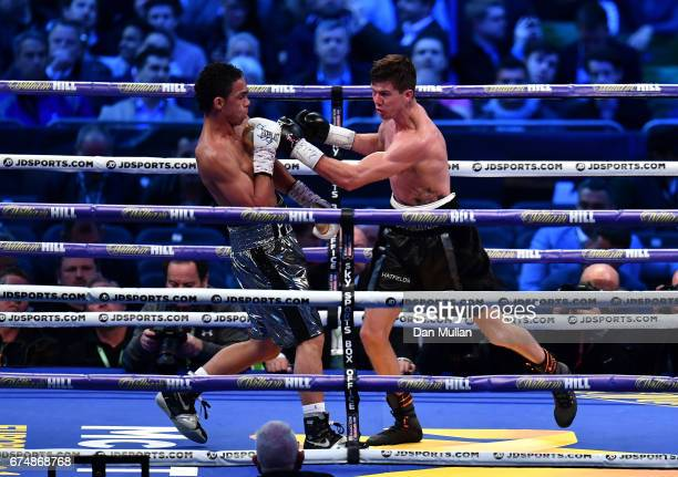 Luke Campbell and Darleys Perez in action during the WBA Leightweight Eliminator bout at Wembley Stadium on April 29 2017 in London England