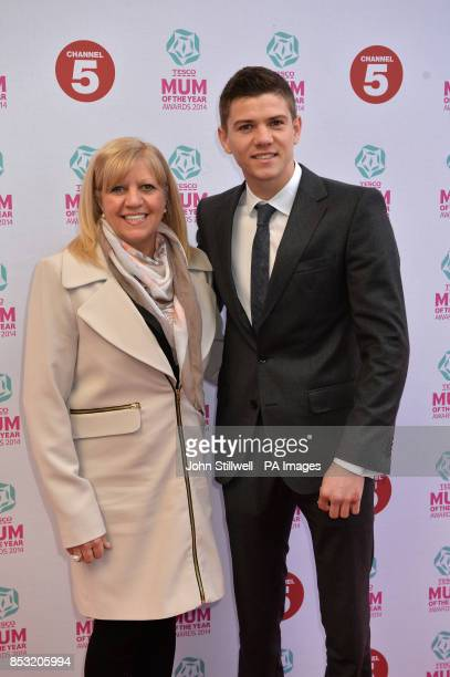 Luke Campbell and guest arriving at Tesco Mum of the Year Awards celebrating Britain's most inspirational mothers at The Savoy Hotel Strand in...