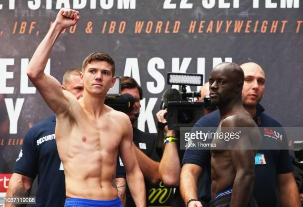 Luke Campbell and Yvan Mendy pose during their undercard fight wiegh in during the Anthony Joshua And Alexander Povetkin weigh in on September 21,...