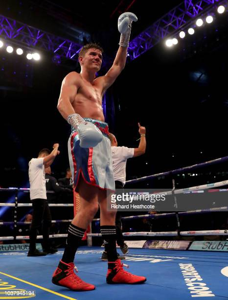 Luke Campbell celebrates victory after the WBC Lightweight World Title Final Eliminator fight between Luke Campbell and Yvan Mendy at Wembley Stadium...