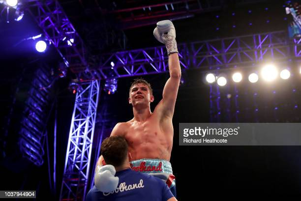 Luke Campbell is lifted up by his trainer Shane McGuigan as they celebrate after the WBC Lightweight World Title Final Eliminator fight between Luke...