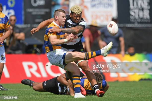Luke Campbell of Bay of Plenty kicks under pressure during the round 8 Mitre 10 Cup match between Bay of Plenty and Hawke's Bay at Tauranga Domain on...