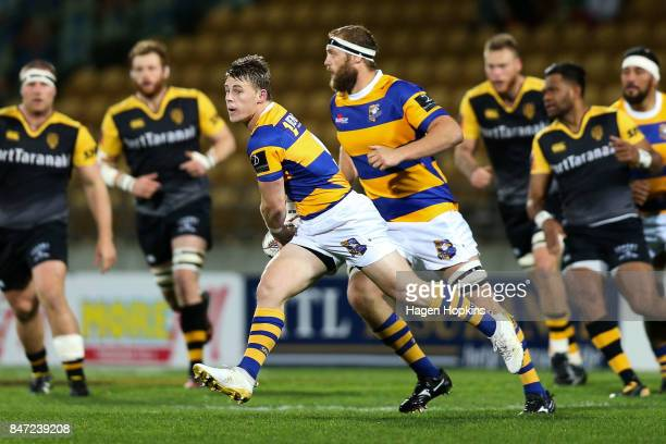 Luke Campbell of Bay of Plenty looks to pass during the round five Mitre 10 Cup match between Taranaki and Bay of Plenty at Yarrow Stadium on...