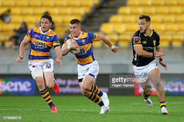 Luke Campbell of Bay of Plenty makes a break during the round 3 Mitre 10 Cup match between the Wellington Lions and Bay of Plenty Steamers at Sky...
