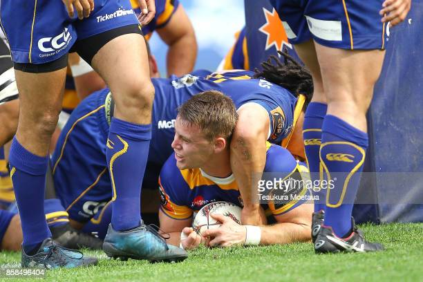 Luke Campbell of Bay of Plenty scores a try during the round eight Mitre 10 cup match between Otago and Bay of Plenty at Forsyth Barr Stadium on...
