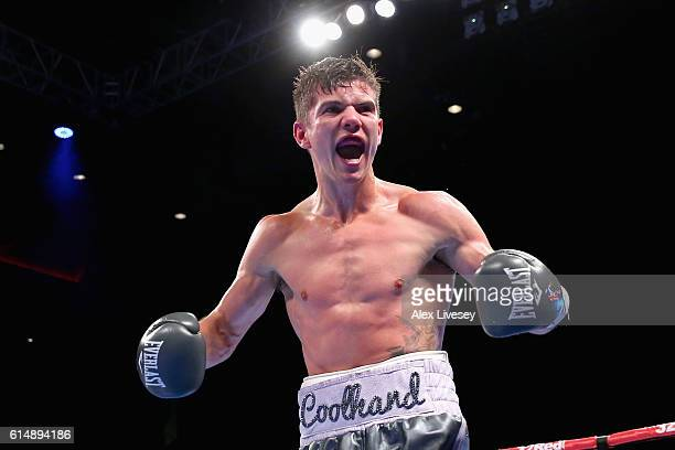 Luke Campbell of England celebrates winning in the WBC Silver Lightweight Championship match during Boxing at Echo Arena on October 15, 2016 in...