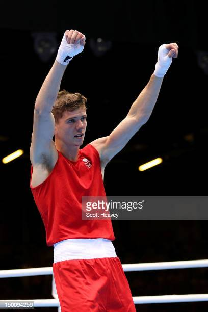 Luke Campbell of Great Britain looks on after he was declared the winner against Satoshi Shimizu of Japan during their Men's Bantam Boxing Semifinal...