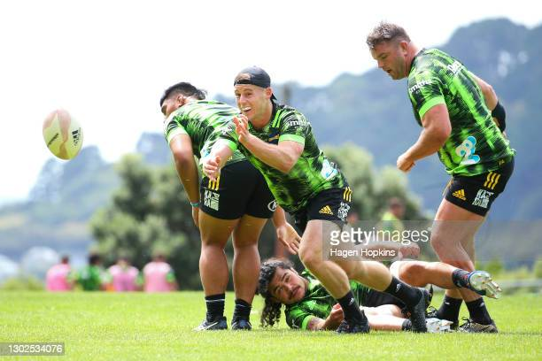 Luke Campbell passes during a Hurricanes Super Rugby Aotearoa training session at Rugby League Park on February 17, 2021 in Wellington, New Zealand.