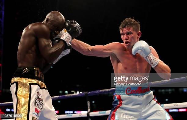 Luke Campbell punches Yvan Mendy during the WBC Lightweight World Title Final Eliminator fight between Luke Campbell and Yvan Mendy at Wembley...