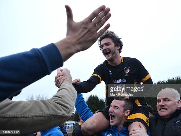 Luke Carr of Morpeth Town is congratulated by fans at the final whistle as Morpeth Town beat Bowers Pitsea 21 during the FA Vase Semi Final Second...
