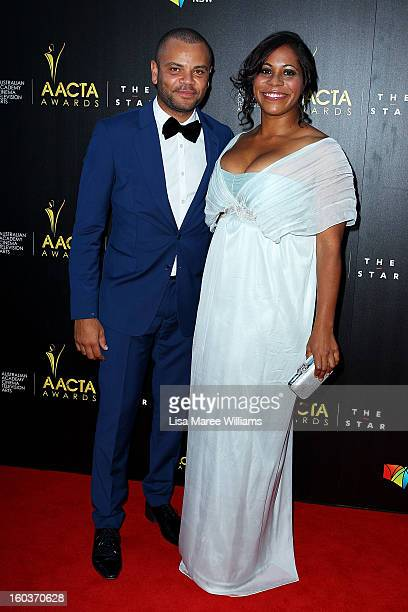Luke Carroll and Shareena Clanton arrive at the 2nd Annual AACTA Awards at The Star on January 30 2013 in Sydney Australia