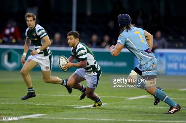 Luke Carter of Ealing Trailfinders takes on the Yorkshire Carnegie defence during the Greene King IPA Championship Semi Final between Ealing...