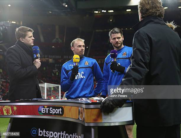 Luke Chadwick and Michael Nelson of Cambridge United are interviewed ahead of the FA Cup Fourth Round replay between Manchester United and Cambridge...