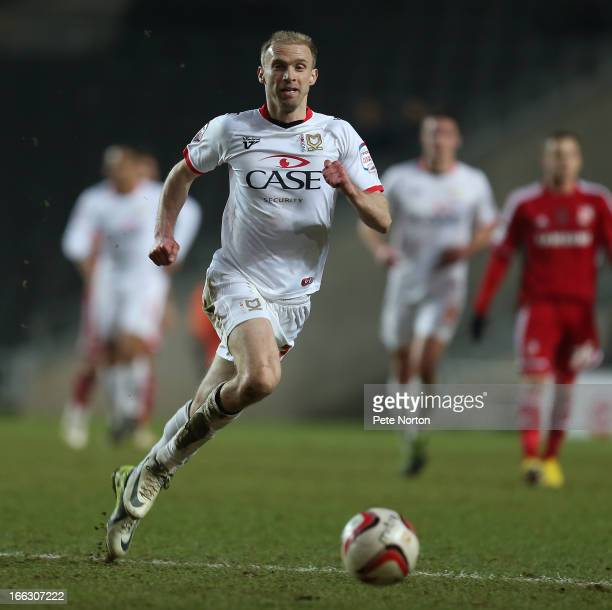 Luke Chadwick of MK Dons in action during the npower League One match between MK Dons and Swindon Town at stadiummk on April 9 2013 in Milton Keynes...