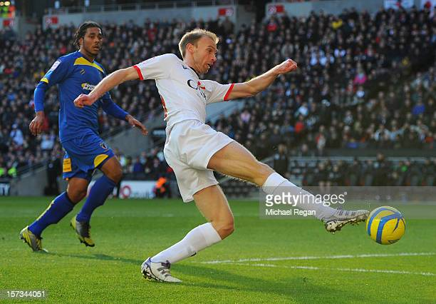 Luke Chadwick of MK Dons shoots during the FA Cup with Budweiser Second Round match between MK Dons and AFC Wimbledon at StadiumMK on December 2 2012...