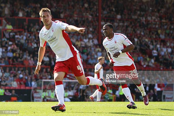 Luke Chambers of Forest celebrates scoring the winning goal during the npower Championship game between Bristol City and Nottingham Forest at Ashton...
