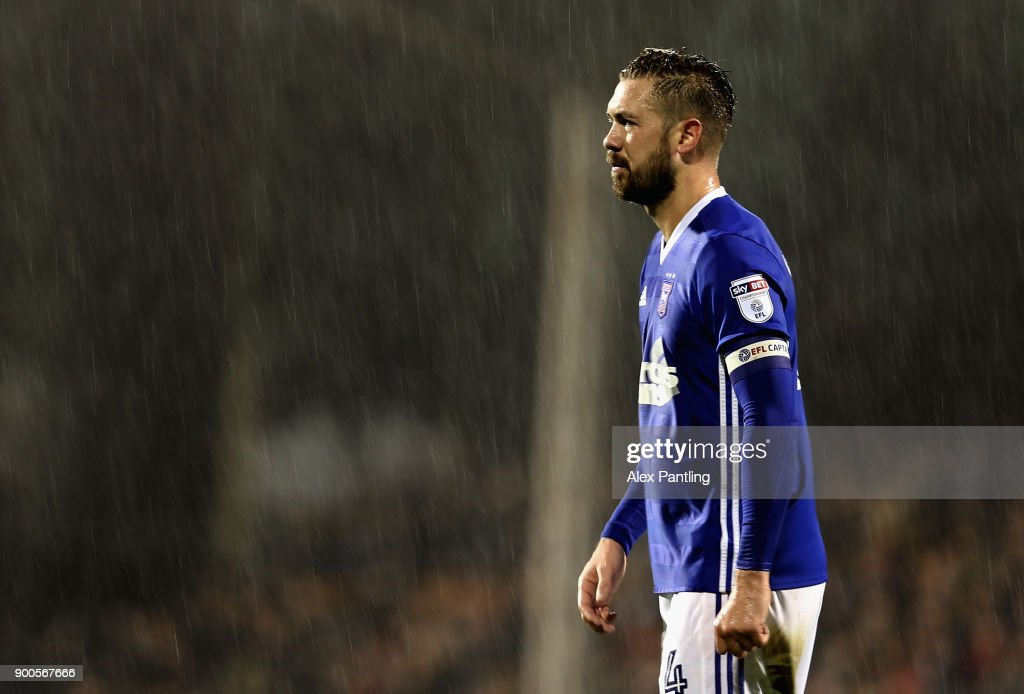 Luke Chambers of Ipswich looks on during the Sky Bet Championship match between Fulham and Ipswich Town at Craven Cottage on January 2, 2018 in London, England.