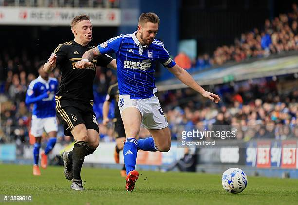 Luke Chambers of Ipswich Town and Ben Osborn of Nottingham Forest compete for the ball during the Sky Bet Championship match between Ipswich Town and...