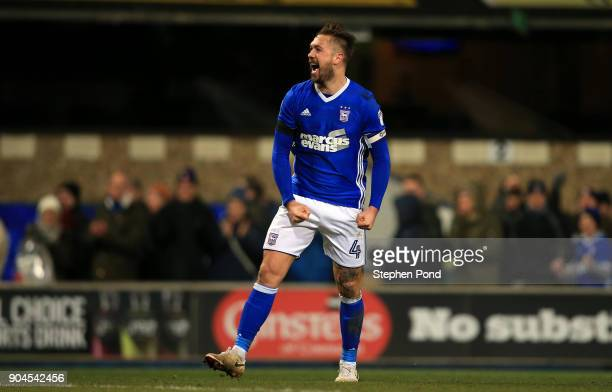 Luke Chambers of Ipswich Town celebrates victory during the Sky Bet Championship match between Ipswich Town and Leeds United at Portman Road on...