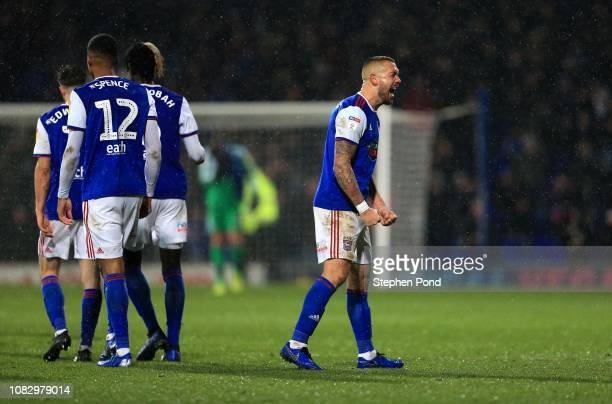 Luke Chambers of Ipswich Town celebrates victory following the Sky Bet Championship match between Ipswich Town and Wigan Athletic at Portman Road on...