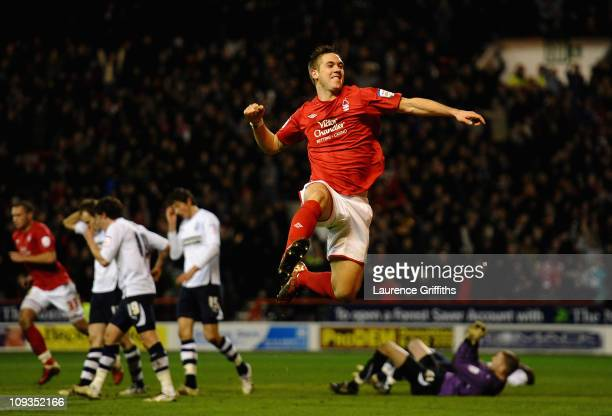 Luke Chambers of Nottingham Forest jumps for joy as Chris Cohen scores the second goal during the npower Championship match between Nottingham Forest...