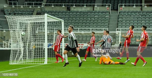 Luke Charman of Newcastle United celebrates after he scores Newcastle's fourth goal during the Premier League 2 Match between Newcastle United and...
