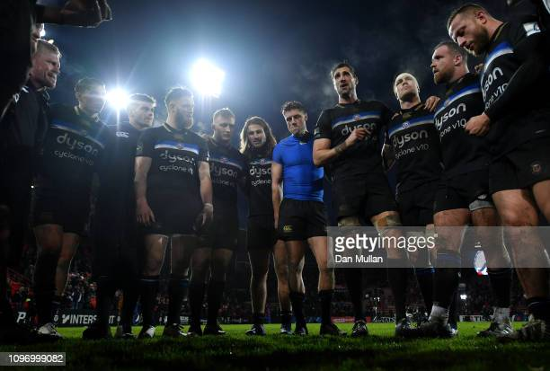 Luke Charteris of Bath talks to his players following their defeat during the Champions Cup match between Toulouse and Bath Rugby at Stade...