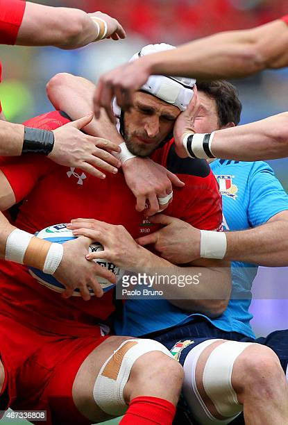 Luke Charteris of Wales in action during the RBS Six Nations match between Italy and Wales at Stadio Olimpico on March 21 2015 in Rome Italy