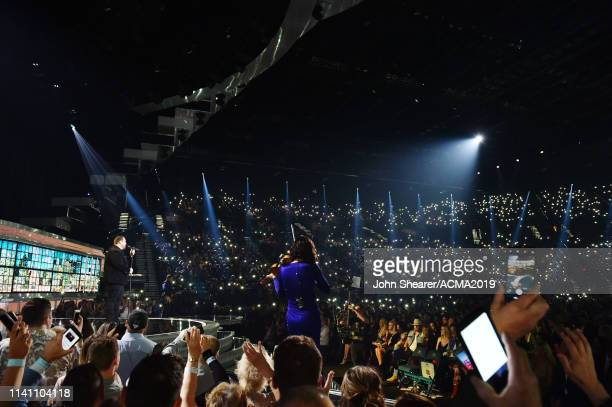 Luke Combs and Amanda Shires perform onstage during the 54th Academy Of Country Music Awards at MGM Grand Garden Arena on April 07 2019 in Las Vegas...