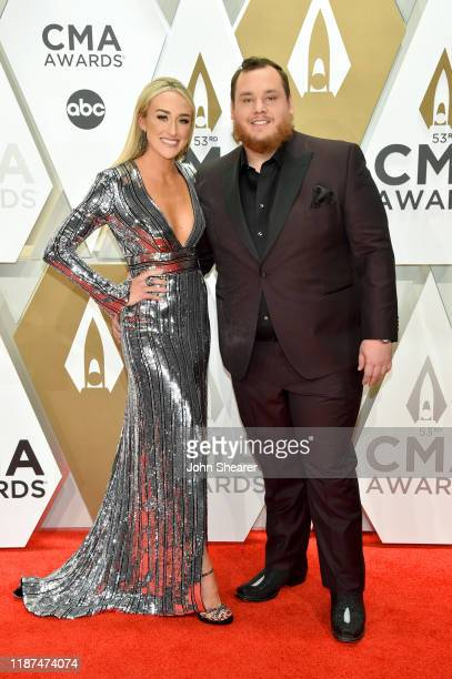 Luke Combs and Nicole Hocking attend the 53rd annual CMA Awards at the Music City Center on November 13 2019 in Nashville Tennessee