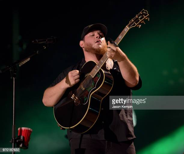 Luke Combs performs onstage during the 2018 CMA Music festival at Nissan Stadium on June 8 2018 in Nashville Tennessee