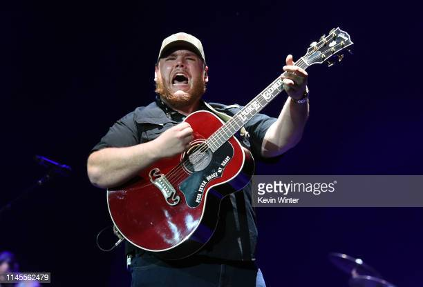 Luke Combs performs onstage during the 2019 Stagecoach Festival at Empire Polo Field on April 27 2019 in Indio California