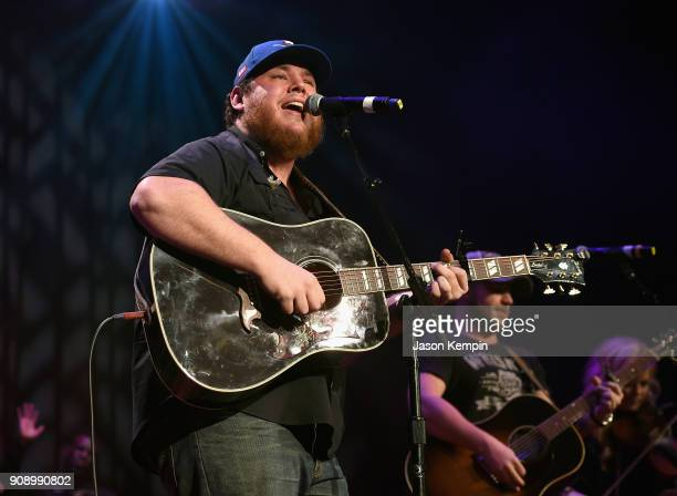 Luke Combs performs onstage during the Bobby Bones The Raging Idiots' Million Dollar Show for St Jude at the Ryman Auditorium on January 22 2018 in...