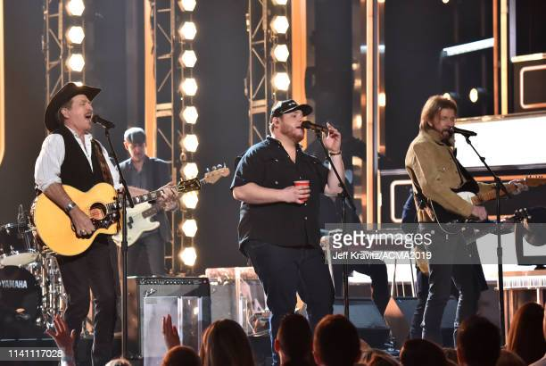 Luke Combs performs with Kix Brooks and Ronnie Dunn of Brooks Dunn onstage during the 54th Academy Of Country Music Awards at MGM Grand Garden Arena...